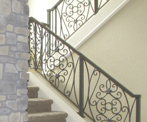 Wrought-iron detail, staircase